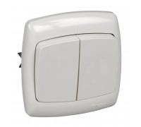 Выключатель 2х1-полюсный Schneider Electric РОНДО S56-052-BI,6А, белый