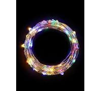 """Гирлянда светодиодная """"Разноцветные нити"""" 1.5м 30LED в виде капель мультиколор работает от 3хАА Космос KOCNL-EL114_multy"""